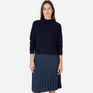 Everlane | Navy Crop Mockneck Cashmere Sweater